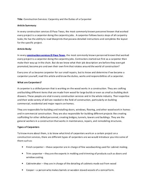 Construction Services Carpentry And The Duties Of A Carpenter. Maintenance Mechanic Resume Examples. How Detailed Should A Resume Be. Resume Goal. Driver Resume Objective Examples. Non Technical Skills For Resume. Warehouse Material Handler Resume. How To Write A Resume Summary Of Qualifications. Devops Resume