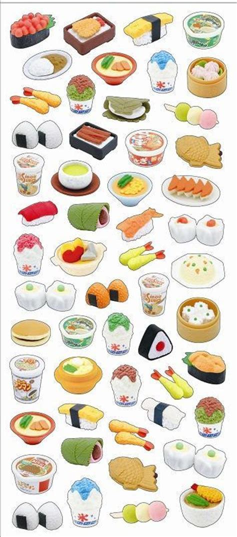 stickers vitres cuisine iwako assorted japanese food and sushi nigiri
