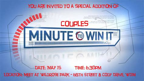 Free minute to win it birthday party invitation Couples Minute to Win It