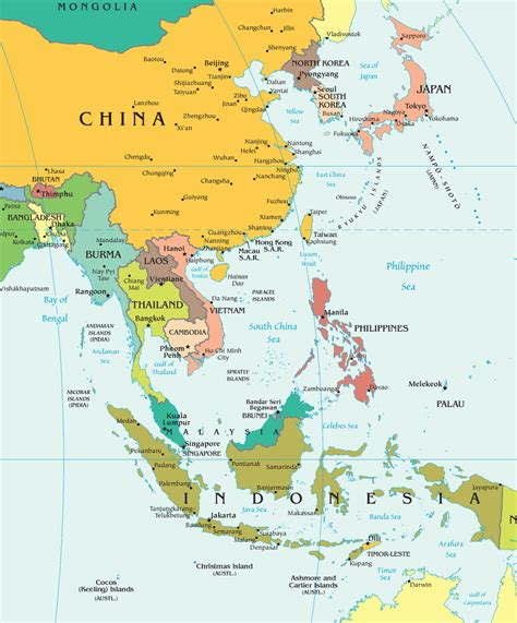 Thailande Carte Geographique Monde by Carte Asie Carte Du Monde