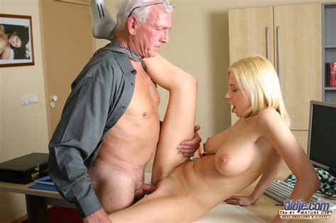Busty Blonde Teen Seduces An Old An While She S Cleaning His Office