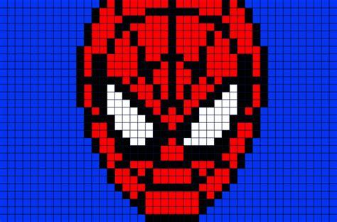 spiderman face pixel art brik