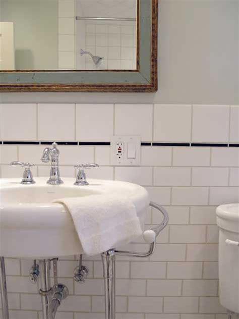 subway tile square tiles pencil trim bathroom