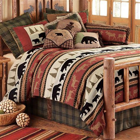 woodland trails bear bed set queen