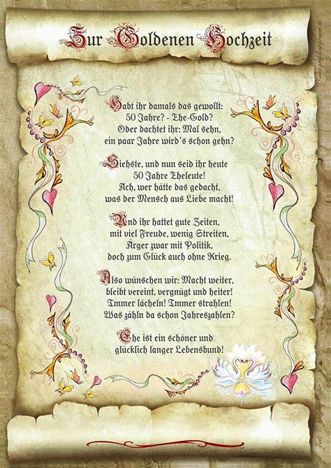 geschenk goldene hochzeit urkunde gedicht praesent jubilae