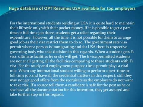 fre resume database search for employers in usa database of opt resumes usa available for top employers