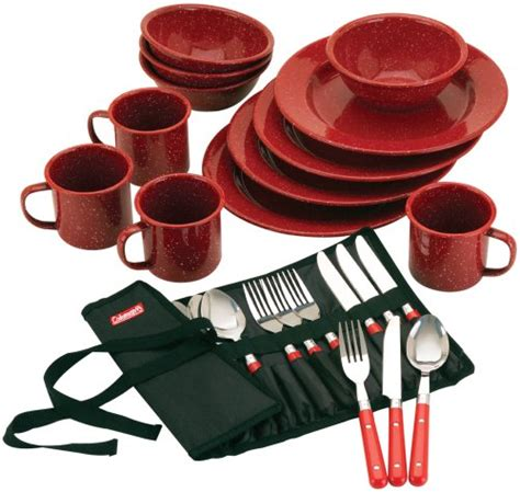 camping sets enamel dinnerware coleman piece tableware plastic dish amazon