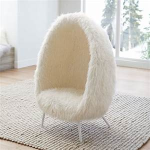 Ivory Furlicious Faux-Fur Cave Chair PBteen
