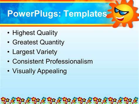 fun powerpoint powerpoint template depiction of happy smiling sun with and sunglasses and colorful