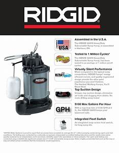 Ridgid 1  2 Hp Cast Iron Submersible Sump Pump-500rs