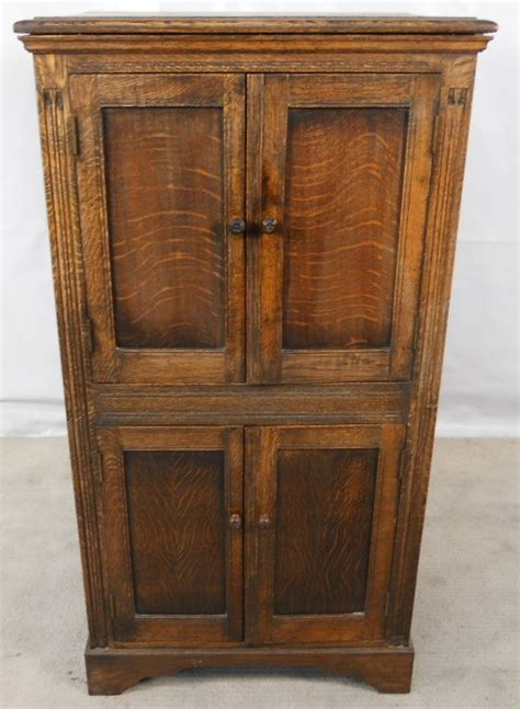 Dark Wood Cupboard Standing Panelled Beech & Elm Storage