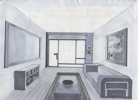 Bedroom One Point Perspective