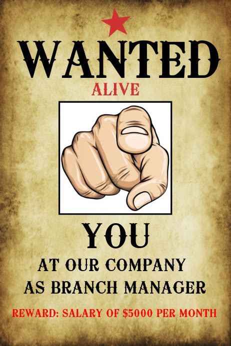 Wanted Hiring Poster Template | PosterMyWall