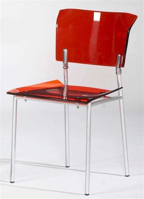 Acrylic Side Chair In Red With Metal Frame Stockton