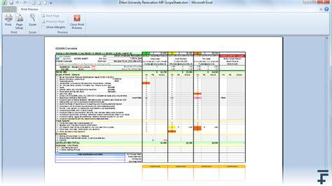 bid in excel scope sheet 14fathoms llc level bids create