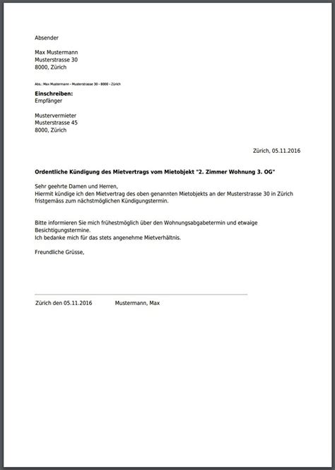 kuendigung mietvertrag musterbrief