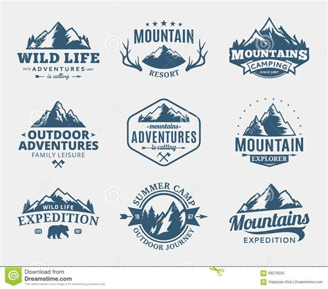 Set Of Vector Mountain And Outdoor Adventures Logo Stock