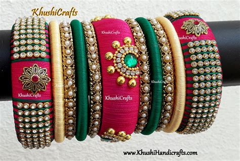 buy bridal silk thread bangles in pink green and cream