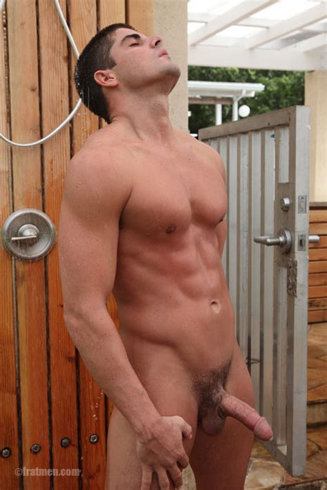 Muscle Men Showering Nude With Erection Straight Guys