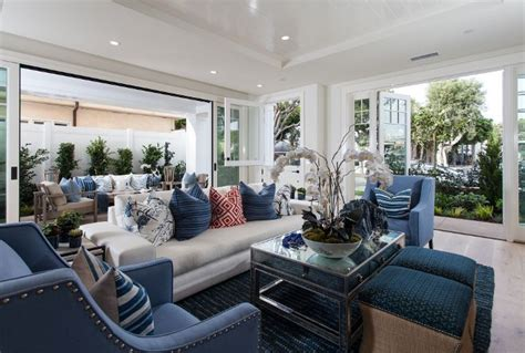 Htons Blue Living Room by Blue And White Living Room Transitional Coastal Living