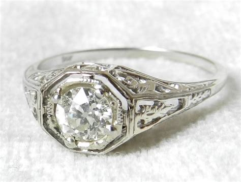deco engagment rings deco engagement ring deco style ring edwardian style 0 52 half carat 1920 s