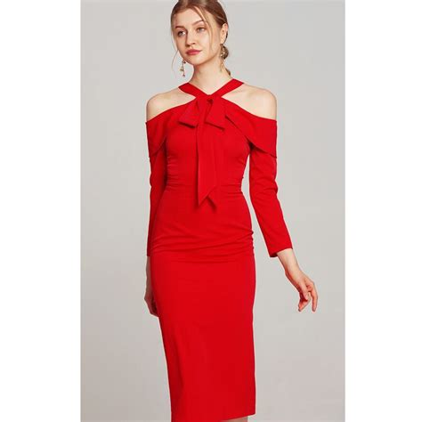 Red Pencil Dress 2018 Womens Fashion Tie Bow Halter Neck