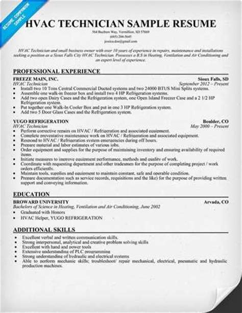 luck with the hvac technician resume sle