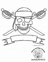 Coloring Skull Pages Pirate Crossbones Boy Halloween Pirates Skeleton Printable Dragon Sheets Adults Reading sketch template
