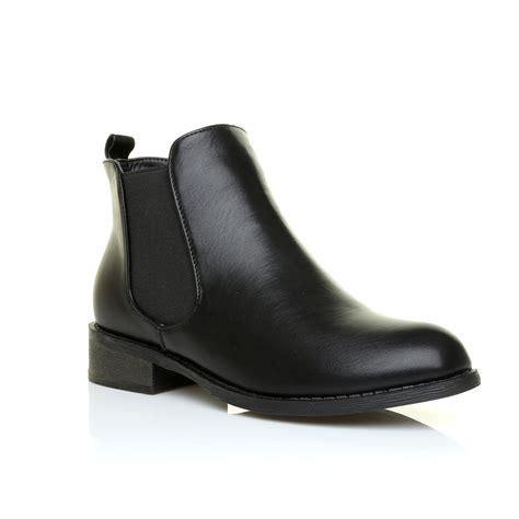 womens ladies classic chelsea  heel flat sole ankle
