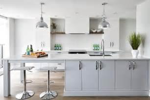 extra long gray kitchen peninsula  sink contemporary