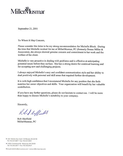 recommendation letter from employer letter of recommendation r sheffield search 10869
