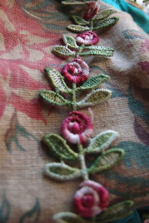 embroidered red rose leaf trim ribbon   yds