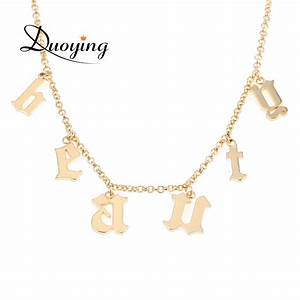 duoying old english name necklace gothic choker beauty With gothic letter name necklace