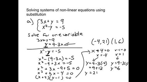 109  Solving Systems Of Nonlinear Equations Using Substitution Youtube