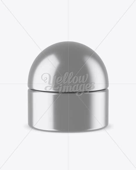 Cosmetic jar, beauty cream tube. Metallic Cosmetic Jar Mockup in Jar Mockups on Yellow ...