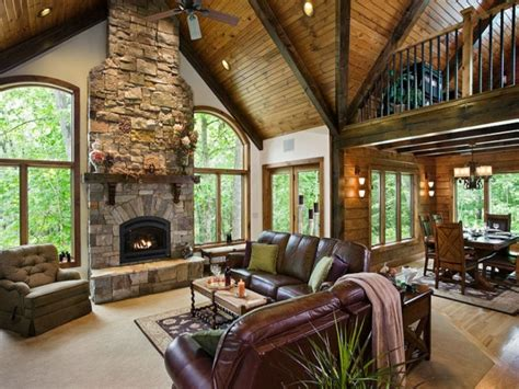 great home interiors updated living room ideas log home great room curtains