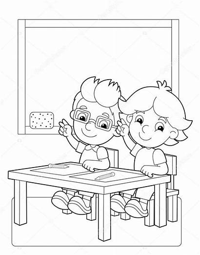 Classroom Coloring Children Illustration Happy Pages Rules