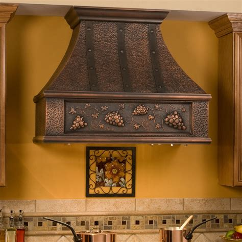 kitchen hoods 36 quot tuscan series copper wall mount range riveted