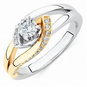 engagement ring with 1 2 carat tw of diamonds in 14ct With 2 in 1 wedding rings