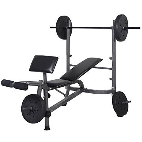weight bench with weights goplus 174 weight lifting bench fitness workout home