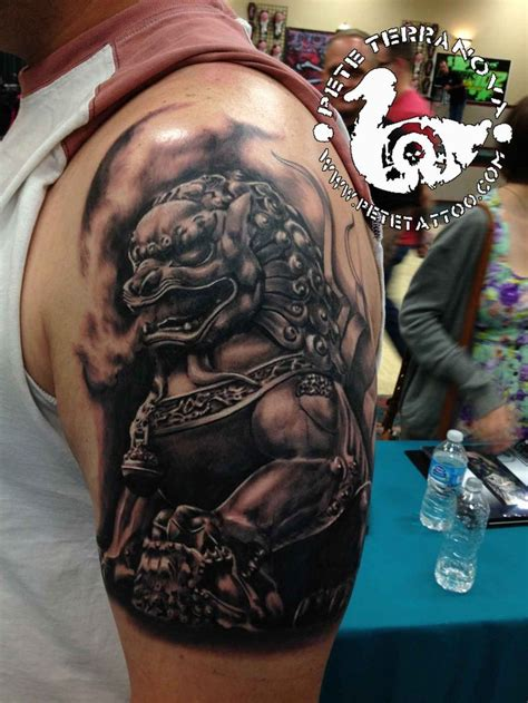 black  gray foo dog tattoo fu dog lion dog tattoo foo