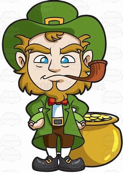 Leprechaun Clipart Vector Cartoon Smoking Pipe Clip