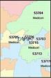 MADISON Wisconsin, WI ZIP Code Map Downloads