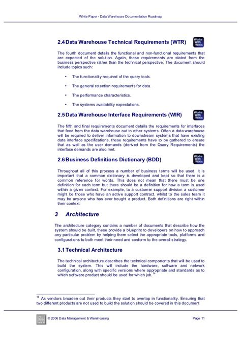 Data Warehouse Business Requirements Template by White Paper Data Warehouse Documentation Roadmap