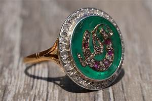 The Virginia Carved Colombian Emerald Horse Motif Ring