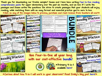 reading comprehension passages upper elementary freebie tpt