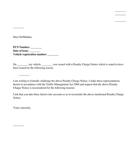 local authority parking fine appeal letter template