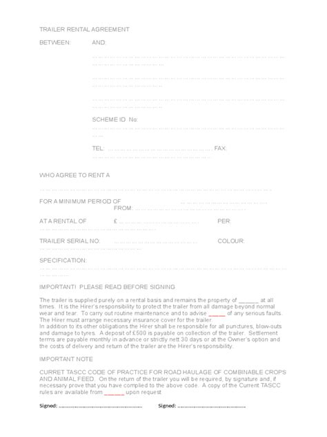 trailer rental agreement   templates   word