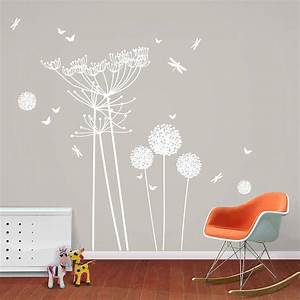 white dandelions and cowparsley wall stickers by funky With awesome white dandelion wall decal
