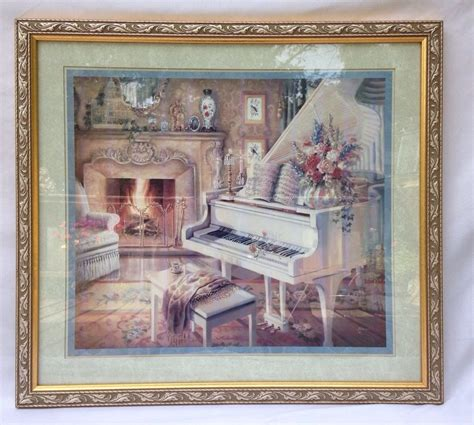 Home Interior Framed by Large Homco Home Interiors Gold Framed Print Grand Piano